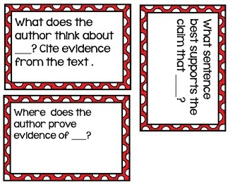Getting to the Core: Text Dependent Question Stem Cards