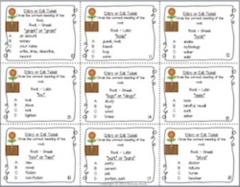 Getting to the Root of it!  Greek and Latin Entry/Exit Tickets and Flashcards