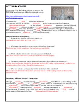 Gettysburg Address:  A Lesson