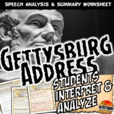 Gettysburg Address Analysis Worksheet Common Core