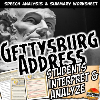 Gettysburg Address Analysis Worksheet Common Core | TpT