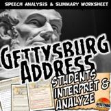 Gettysburg Address Analysis Worksheet Common Core