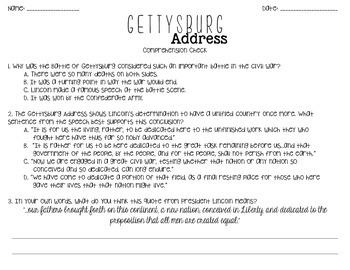 Gettysburg Address: Comprehension, Main Idea, & Informational Writing