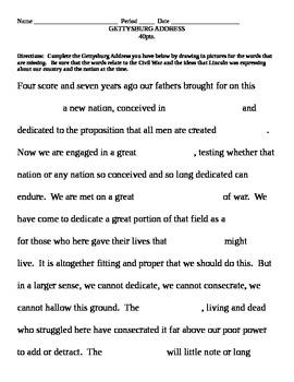 Gettysburg Address Fill in