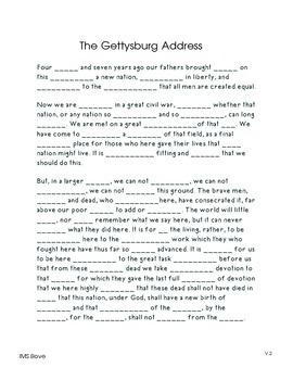 Gettysburg Address Memory Activities