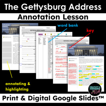Gettysburg Address - Parallel Structure & Rhetorical Precis Annotation Lesson
