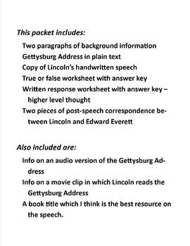 Gettysburg Address:  Primary Source Activity