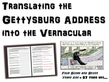 Gettysburg Address - Translating into the Vernacular - tested, engaging activity