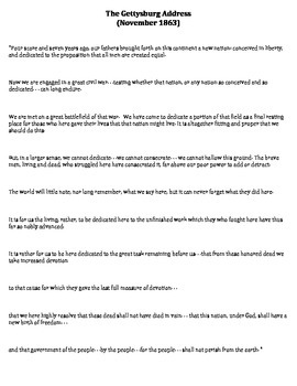 Gettysburg Address Translation Worksheet