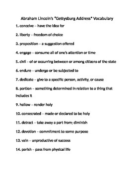 Gettysburg Address Vocabulary