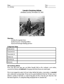 Gettysburg Address Worksheet