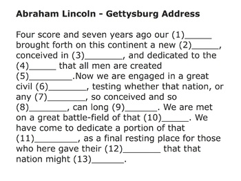 Gettysburg Address mp4 Video - Fill in the blanks.