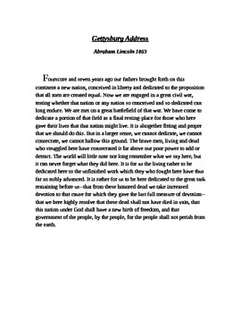 Gettysburg Address with Common Core Questions