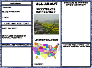 Gettysburg Battlefield Digital Research Brochure in Google Slides™