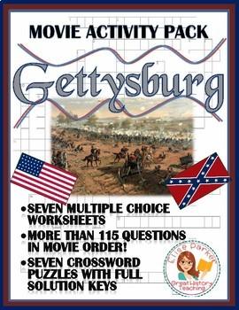 Gettysburg Movie Worksheets / Tests and Puzzle Pack