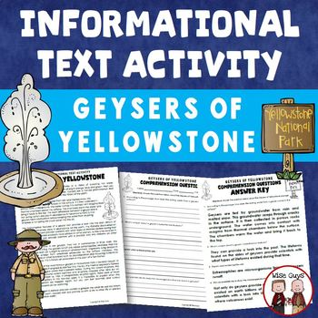 Geysers of Yellowstone Informational Text Activity