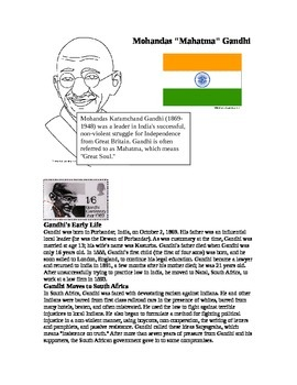 Ghandi and India Reading and Worksheet
