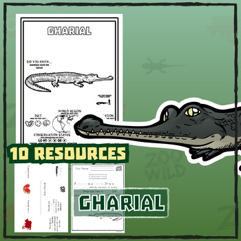 Gharial -- 10 Resources -- Coloring Pages, Reading & Activities