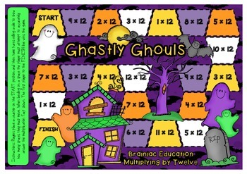Ghastly Ghouls Multiplication Board Game x12 Facts