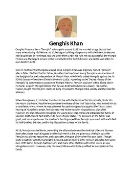 Ghenghis Khan Biography Article and Assignment