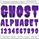 Halloween Alphabet Clipart Purple Letters Numbers Ghost Digital Text Clip Art