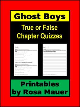 Ghost Boys Chapter True or False Quizzes School or At Home ...