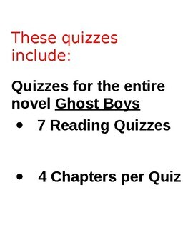 Ghost Boys by Jewell Parker Rhodes Editable, EL Friendly Chapter Quizzes