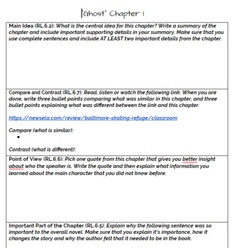 """Ghost- Chapter 1 """"Chapter Bookmark"""" Activity"""