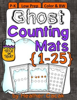Ghost Counting Hands-On Math Mats 1-25 Low Prep PS-K