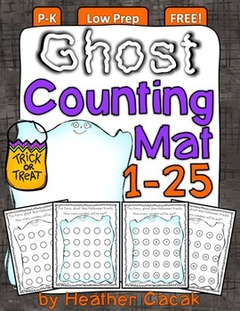 Ghost Counting Hands-On Math Mats 1-25 Low Prep PS-K {FREE}