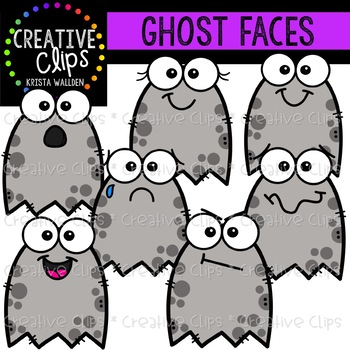 Ghost Faces: Halloween Clipart {Creative Clips Clipart}