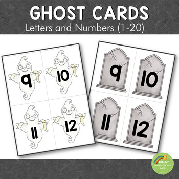 Ghost Halloween Letter and Number Cards