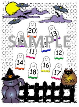 Ghost Halloween Number Match Game  1- 20