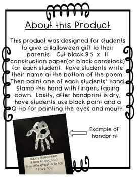 Ghost Handprint Poem for Halloween