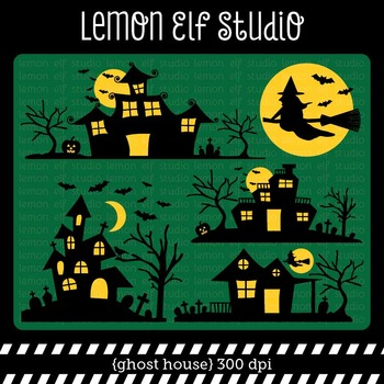 Ghost House-Digital Clipart (LES.CL48)