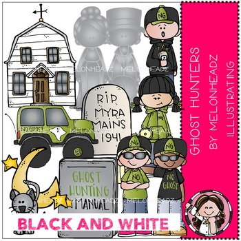 Ghost Hunting clip art - BLACK AND WHITE- by Melonheadz