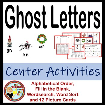 Ghost Letters - Center Activities (word sort, picture card