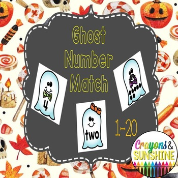 1-20 Ghost Number Match Game, Halloween Number Match
