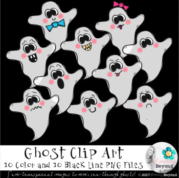 Ghost PNG Color and Black Line Clip Art