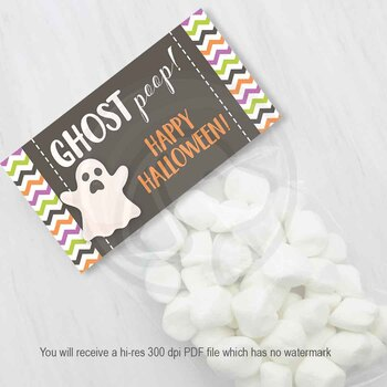 Ghost Poop Candy and Treat Bag Toppers for Halloween Parties and Bake Sales