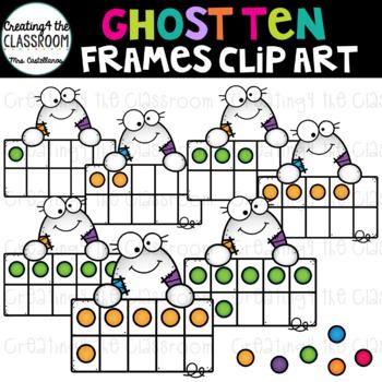 Ghost Ten Frames Clip Art {Halloween Clip Art}