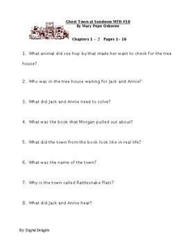 Ghost Town at Sundown: Magic Tree House #10 Reading Comprehension Questions