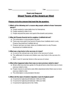 Ghost Towns of the American West - Read and Respond Reading Street 5.2
