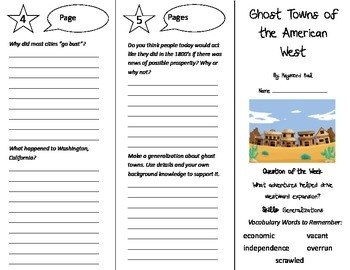 Ghost Towns of the American West Trifold - Reading Street 5th Gr Unit 5 Week 5