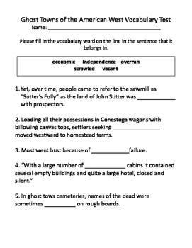 Ghost Towns of the American West Vocabulary Test and Vocabulary Dominoes