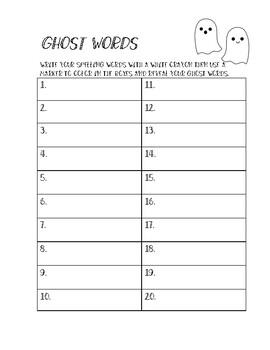 Ghost Words Spelling Practice