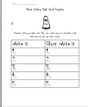 Ghost Writing Sight Word Practice