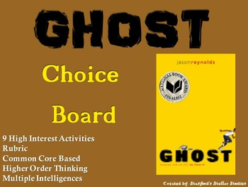 Ghost by Jason Reynolds Choice Board Novel Study Activities Menu Book Project