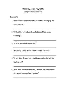 Ghost by Jason Reynolds Comprehension Questions by Flossy ...