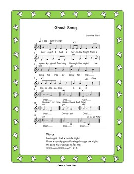 Ghost in the Night, vocal warm up, Halloween Song, K - 5, Lesson + MP3s
